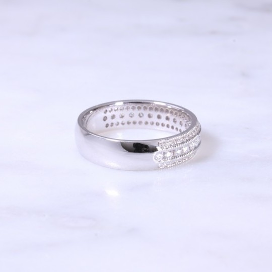 3 Row Channel Set Diamond Ring With Milgrain