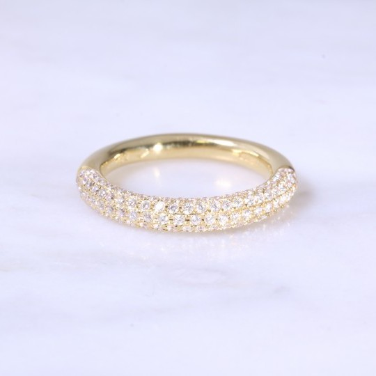 Pavé Set Rounded Half Eternity Ring