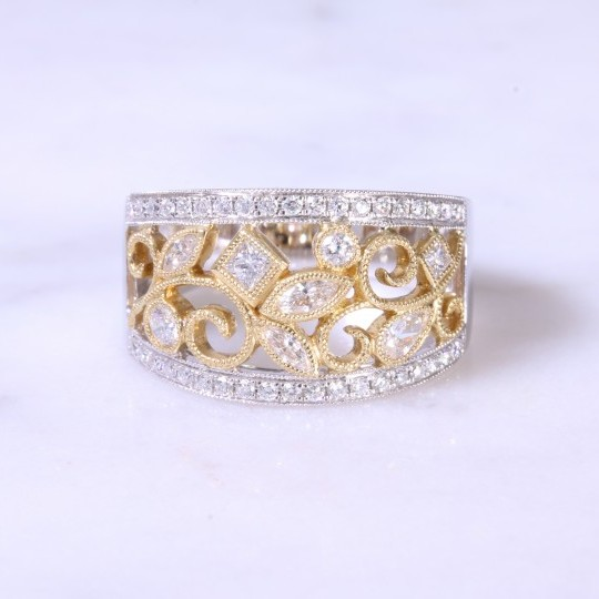Filigree Floral Diamond Ring