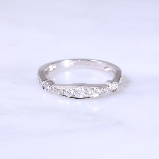 Deco Style Bar Design Half Eternity Ring