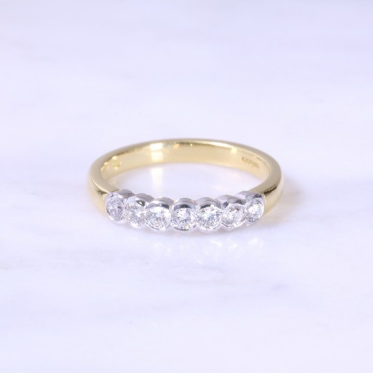 Rub-over Set 7 Stone Diamond Half Eternity Ring