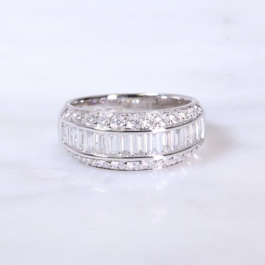 Round brilliant & baguette diamond channel set 1/2 eternity ring 1.44ct