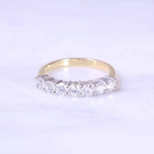 Claw Set 7 Stone Diamond Half Eternity Ring