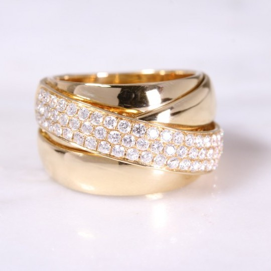 Wide Pave Set Diamond Ring