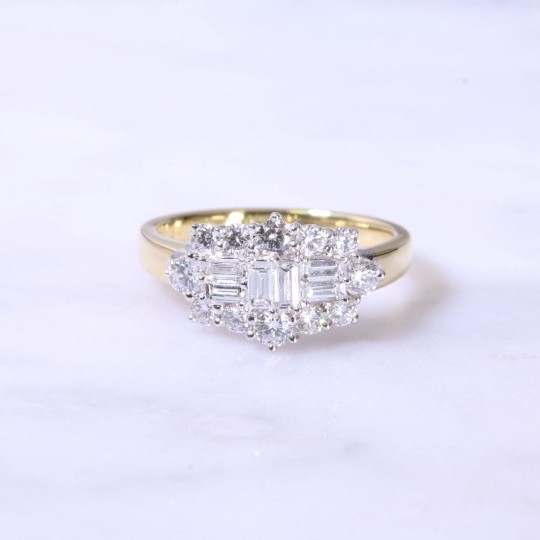 Round & Baguette Cut Diamond Cluster Ring