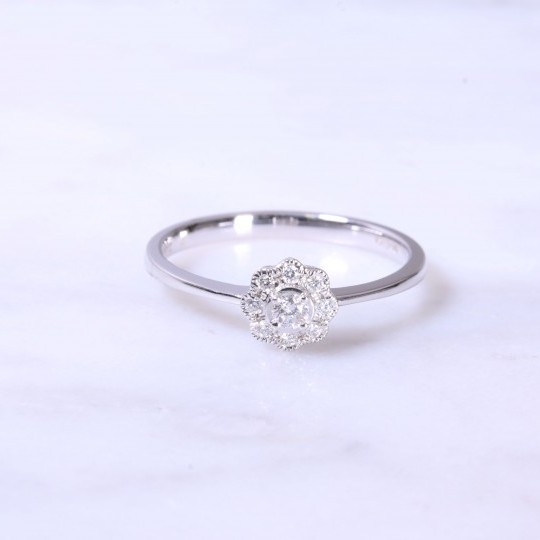 Petite Diamond Milgrain Cluster Engagement Ring