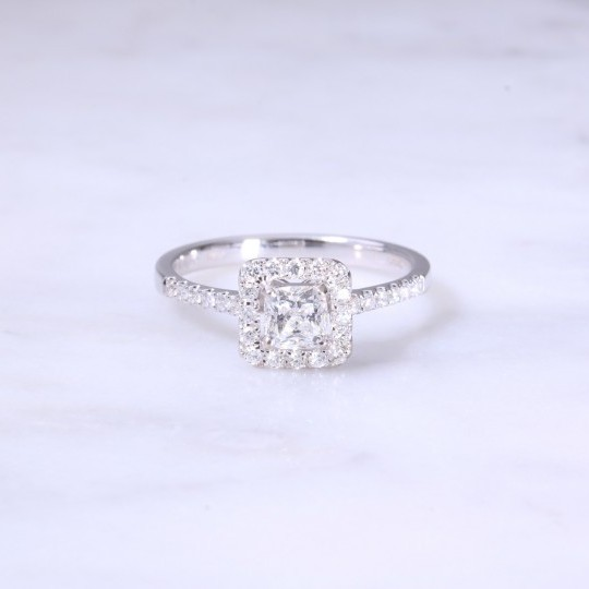 Cushion Cut Diamond Cluster Engagement Ring