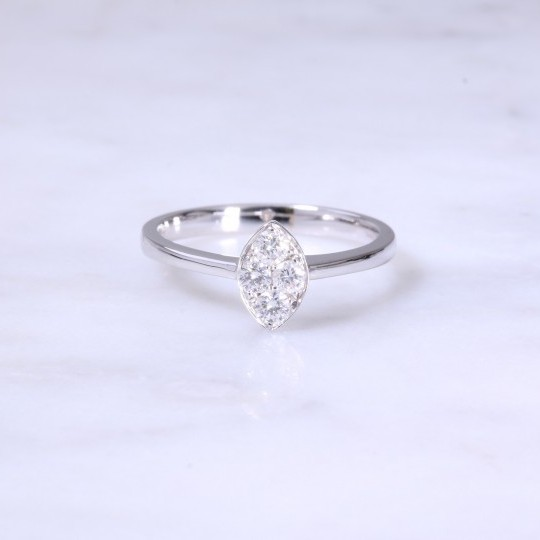 Marquse Shape Diamond Cluster Engagement Ring