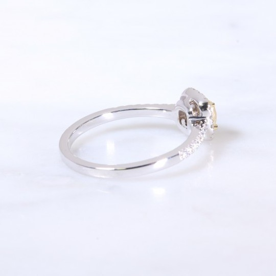 Natural yellow cushion diamond halo ring 0.74ct