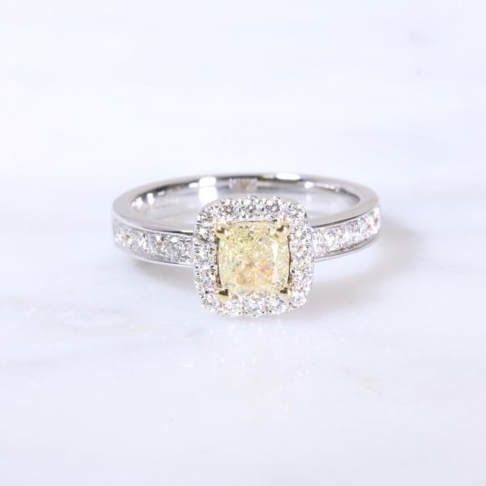Natural yellow cushion diamond halo ring