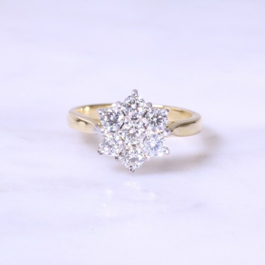 Round Brilliant Diamond Claw Set Cluster Ring