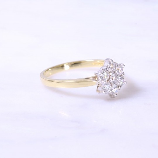 Round Brilliant Diamond Claw Set Cluster Ring 0.59ct