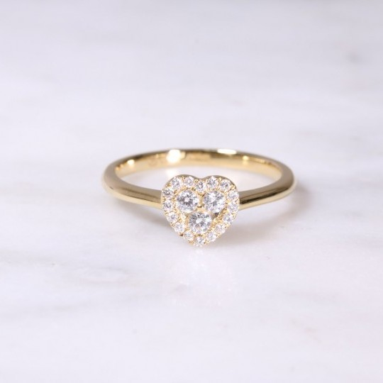 Yellow Gold Diamond Heart Cluster Ring