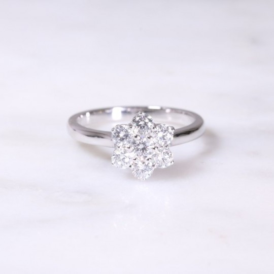 Platinum Round Brilliant Diamond Cluster Ring