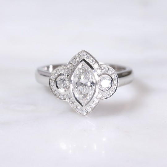 Marquise & Round Brilliant Diamond Cluster Ring