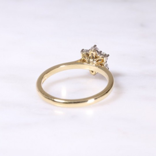 Yellow & White Gold Diamond Cluster Ring
