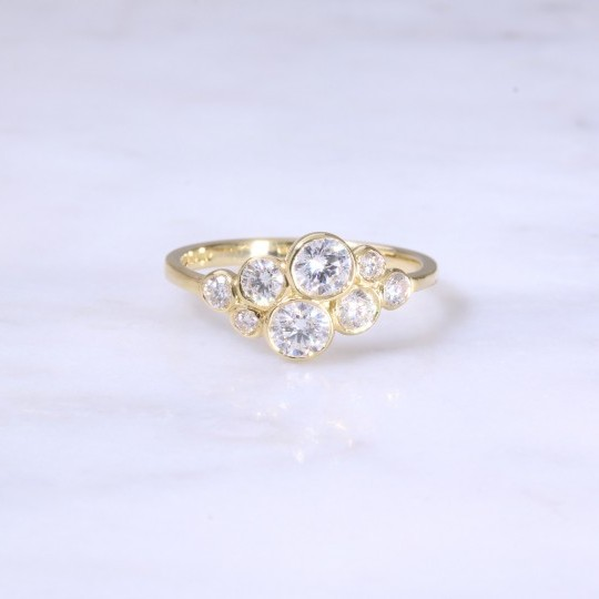 Round Brilliant Diamond Bubble Ring