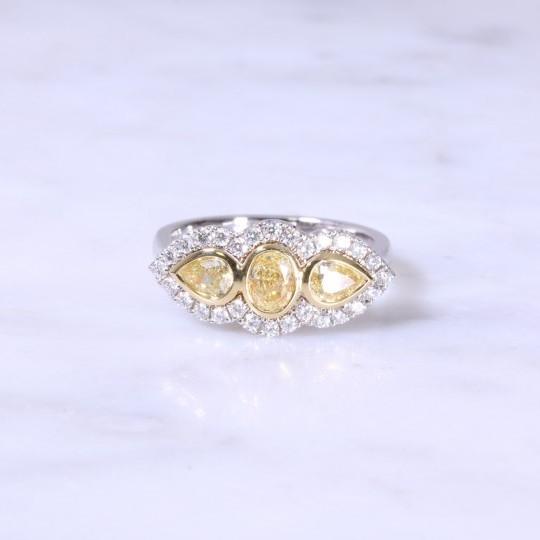 Oval & Pear Yellow Diamond Cluster Ring
