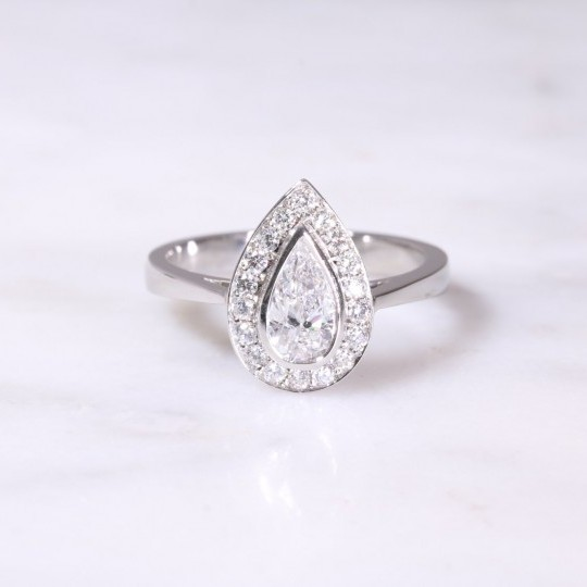 Platinum Pear Shaped Diamond Cluster Ring