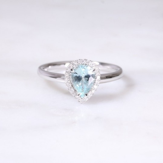Pear Aquamarine & Diamond Halo Ring