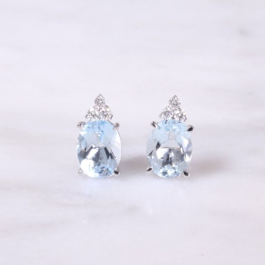 Oval Aquamarine & Trefoil Diamond Earrings