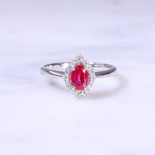 Oval Ruby & Halo Diamond Cluster Ring