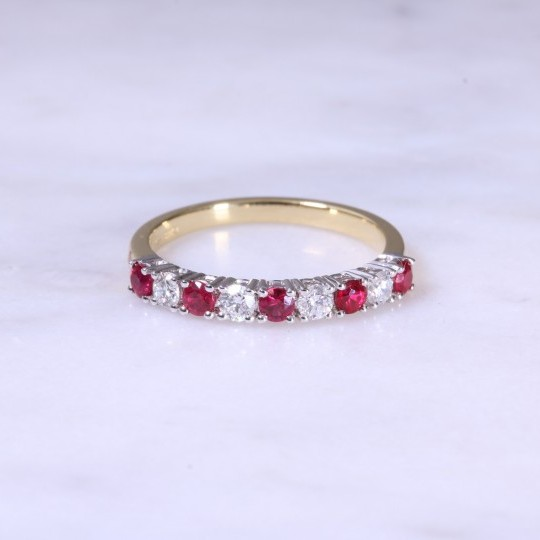 Ruby & Diamond Claw Set 1/2 Eternity Ring