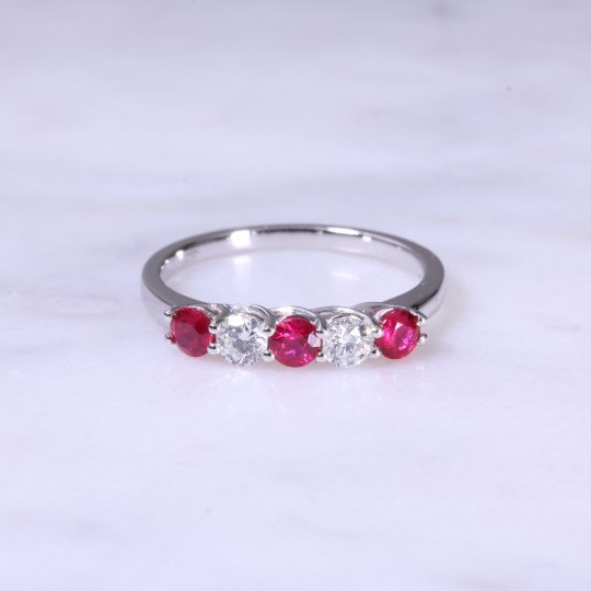 Ruby & Diamond 5 Stone Ring