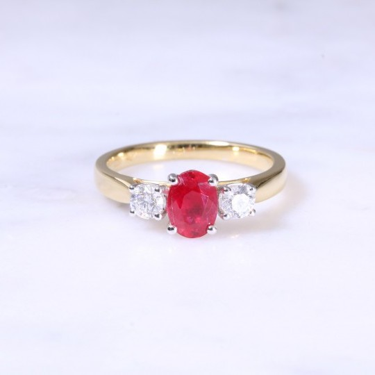 Oval Ruby & Diamond 3 Stone Ring