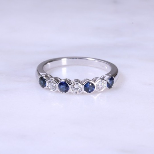 Sapphire & Diamond 7 Stone Rub-Over Ring