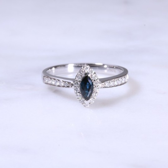 Marquise Sapphire & Diamond Cluster Ring