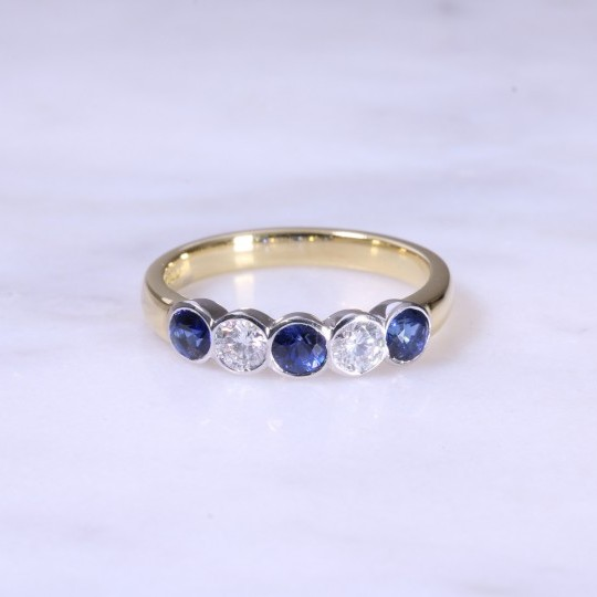 Sapphire & Diamond 5 Stone Rub-Over Ring