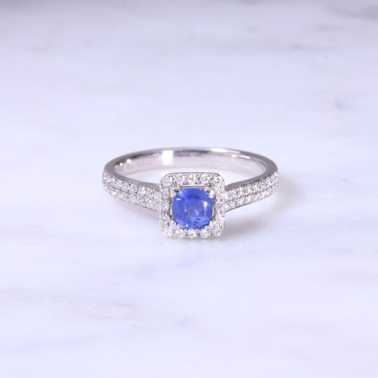 Cushion Sapphire & Diamond Halo Ring
