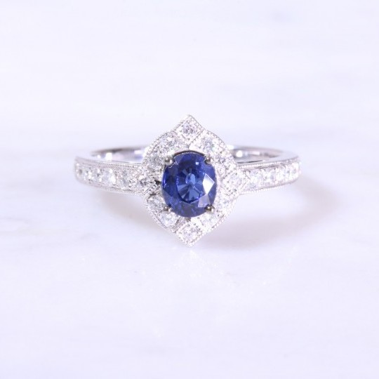 Sapphire & Deco Style Diamond Cluster Ring with Milgrain