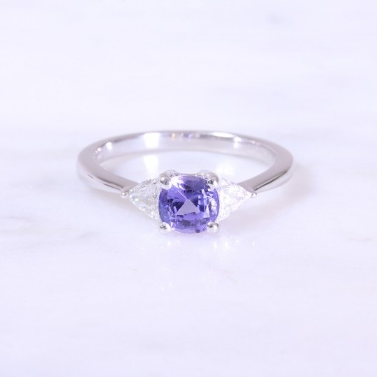 Cushion Tanzanite & Trilliant Diamond Ring