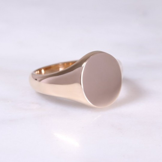 9ct Rose Gold Oval Signet Ring Medium