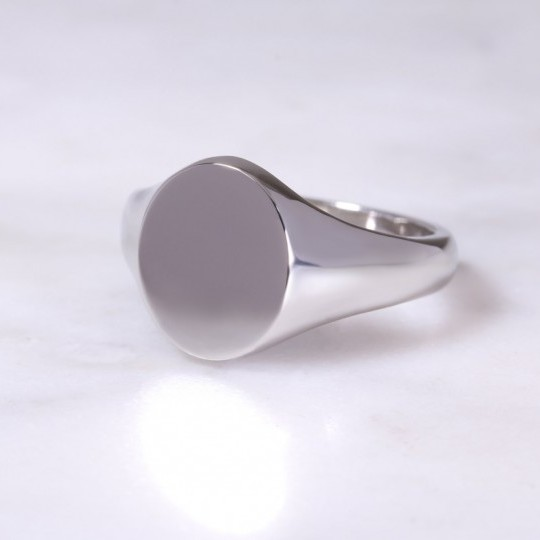 Platinum Oval Signet Ring Medium