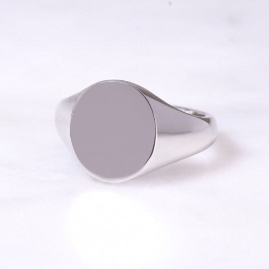 Platinum Oval Signet Ring Large