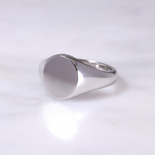 Ladies Platinum Oval Signet Ring Small