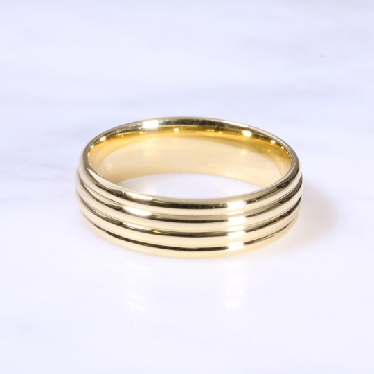 18ct 6mm Multi Grove Wedding Band