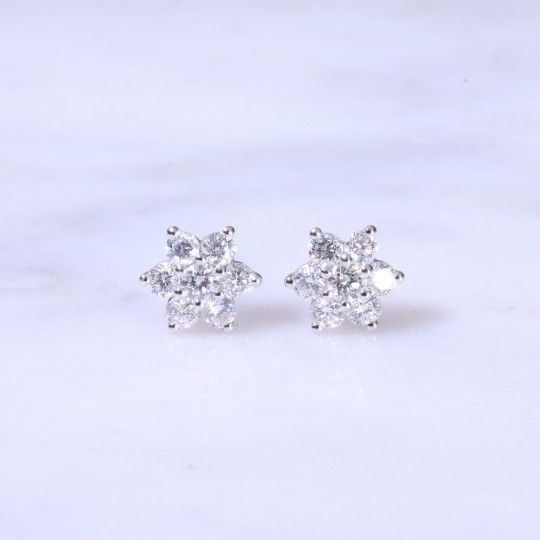 Diamond Claw Set Cluster Ear Studs 0.68ct