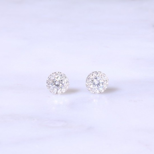Petite Diamond Halo Ear Studs