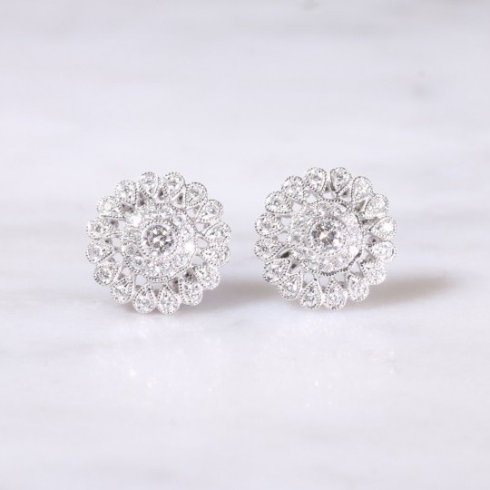 Filigree Diamond Cluster Ear Studs