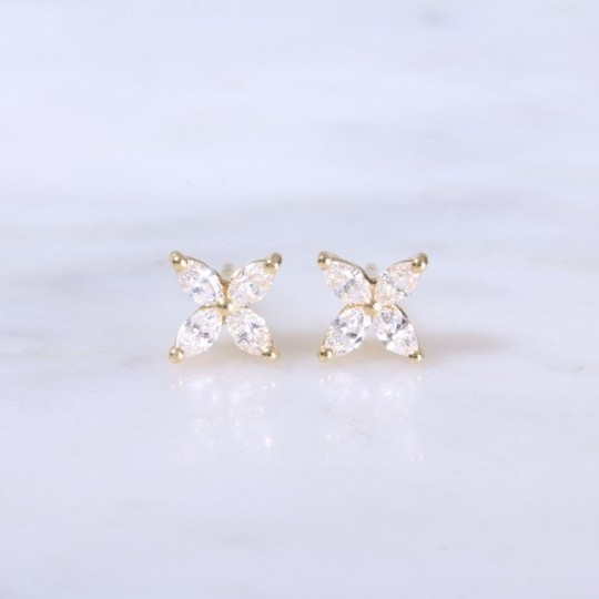 Marquise Diamond Flower Ear Studs
