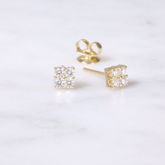 4 Stone Diamond Square Design Earrings Yellow gold