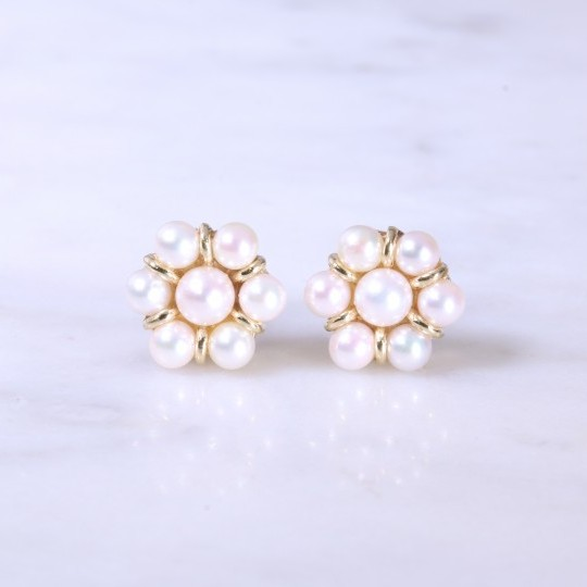 Cultured Pearl Flower Cluster Earrings