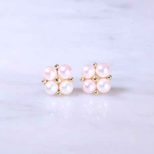 Cultured Pearl Square Cluster Earrings