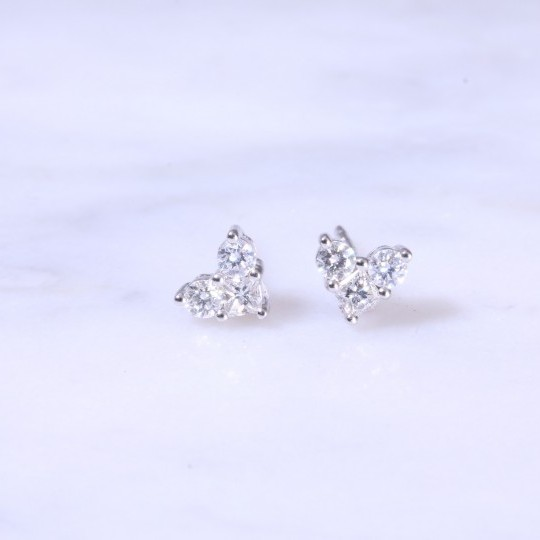 Diamond Heart Ear Studs 0.44ct