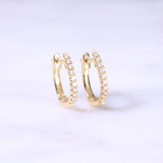 Diamond claw set huggie hoop earrings small