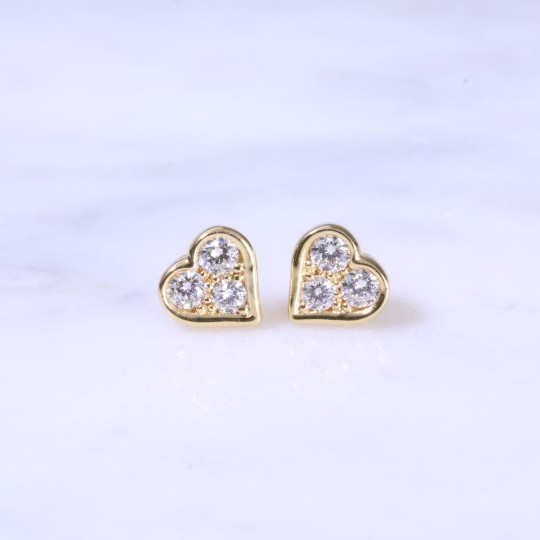 Diamond Heart Ear Studs 0.38ct